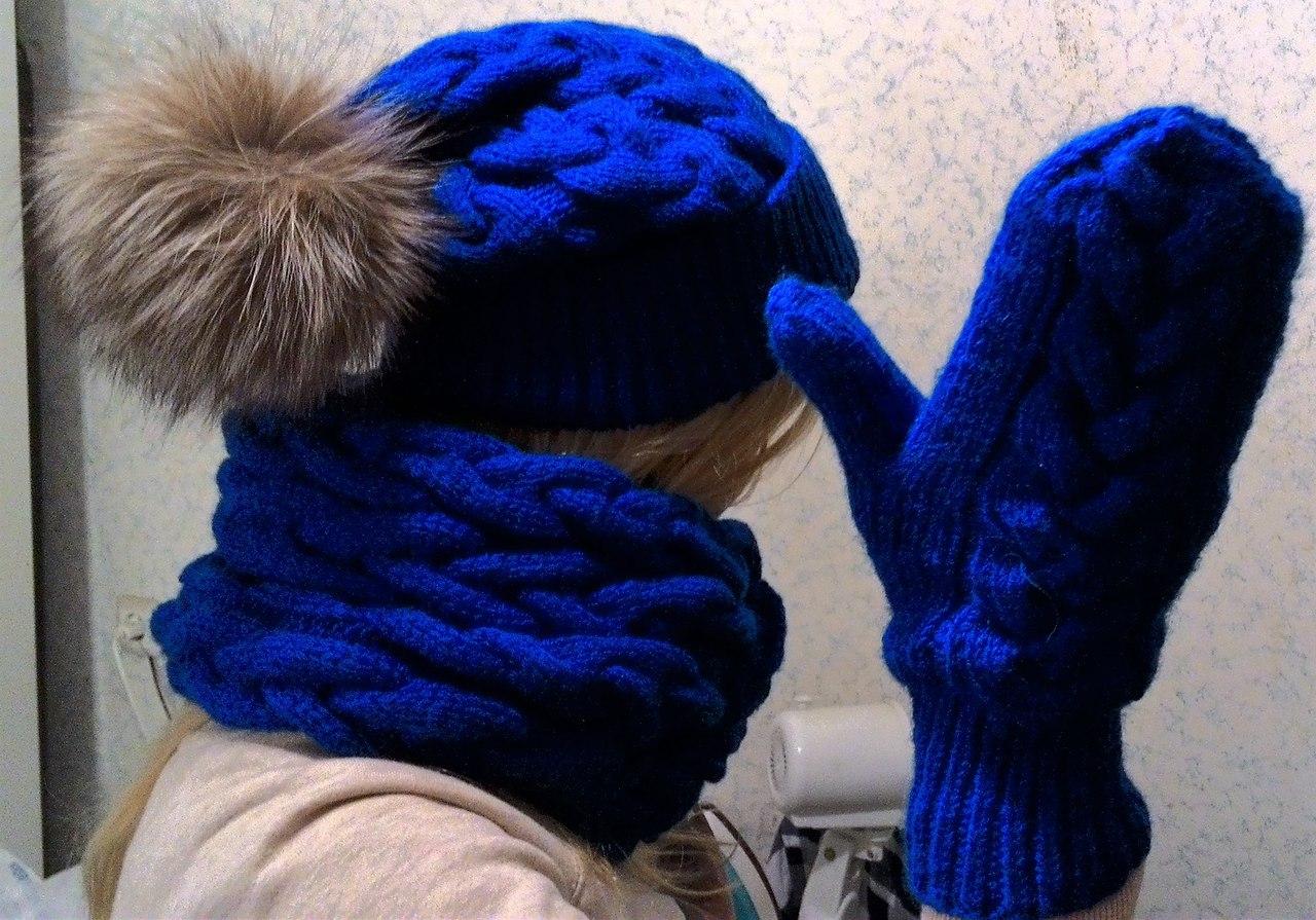 Вязание спицами варежки шапки фото